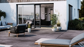 Modernas SYNEGO SLIDE terases durvis un bīdāmie logi