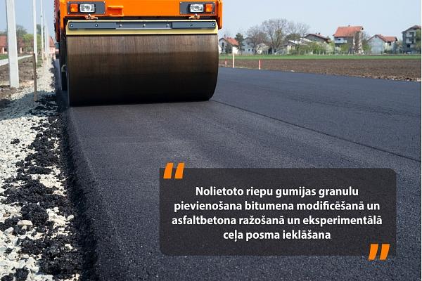 Latvijā pēta iespējas asfalta segumos iestrādāt nolietotas riepas