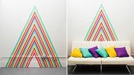 Kā izdekorēt sienu, izmantojot krāsaino līmlenti?