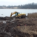 Excavation of water bodies and strengthening of the shoreline
