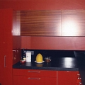 Red kitchen unit