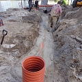 Sewage sewer installation