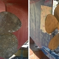 Propeller for ship, curb, brick, wood, blast cleaning