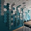 CEWOOD akustiskās, dizaina sienas un griestu apdares plātnes (fibrolīts) biroja telpās